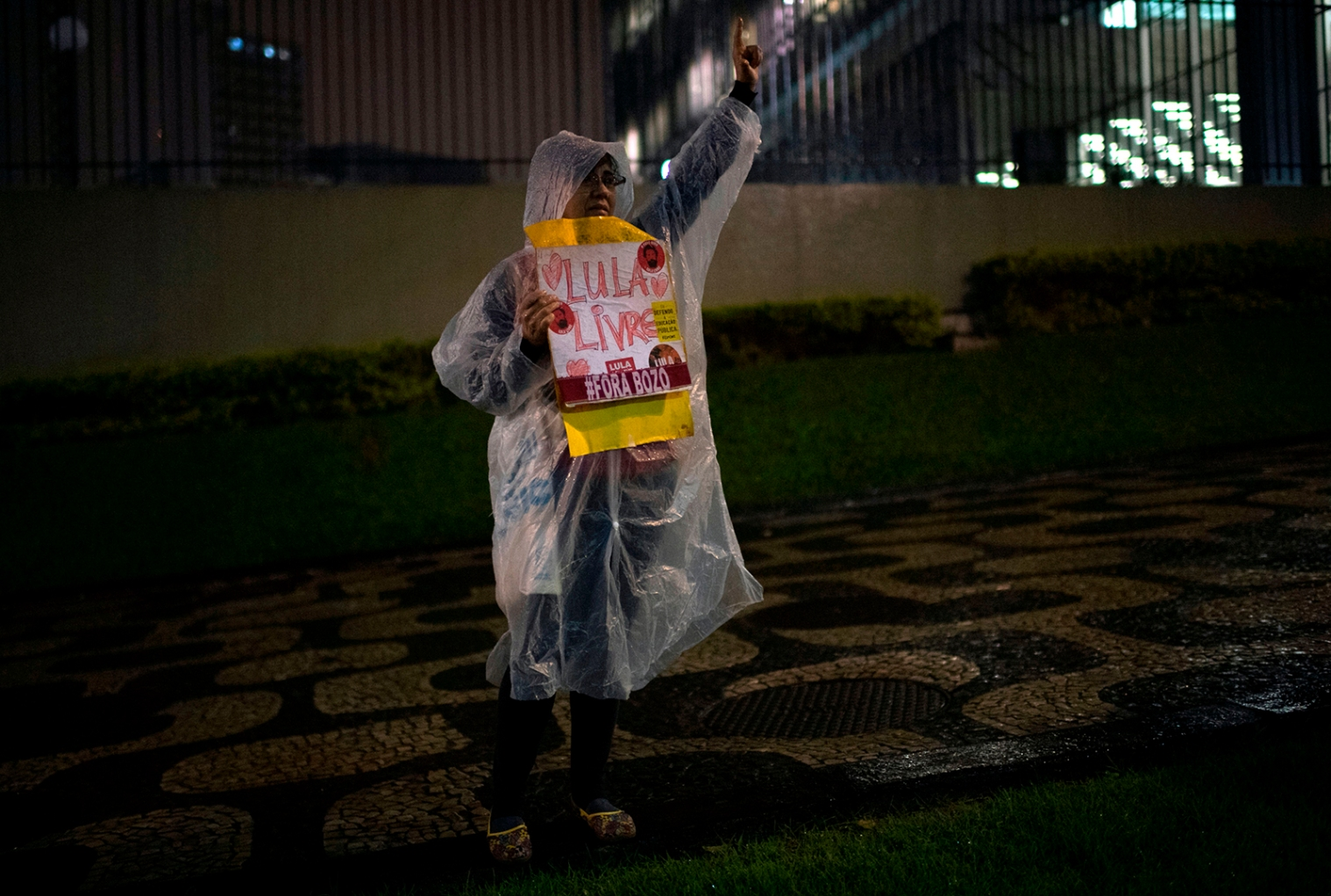 A woman gestures during a protest against Brazilian President Jair Bolsonaro's education budget cuts, in Rio de Janeiro on Aug. 13. MAURO PIMENTEL/AFP/Getty Images
