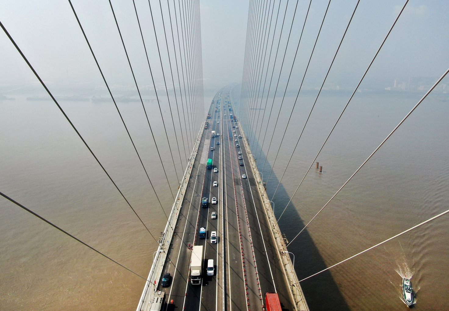An aerial view of the Sutong Bridge in Nantong in China's eastern Jiangsu province on Aug. 14. STR/AFP/Getty Images