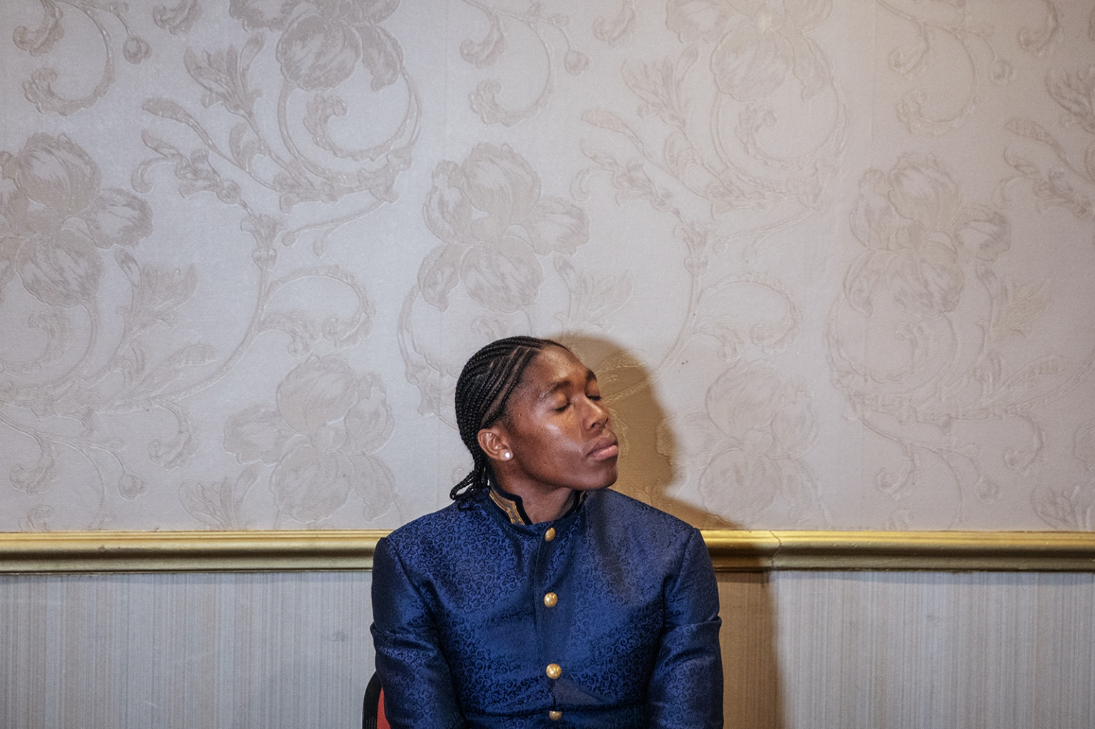 South African runner and Olympic champion Caster Semenya holds a news conference in Johannesburg, South Africa, to address a regulation that would make her take testosterone-lowering medication on Aug. 14. MICHELE SPATARI/AFP/Getty Images