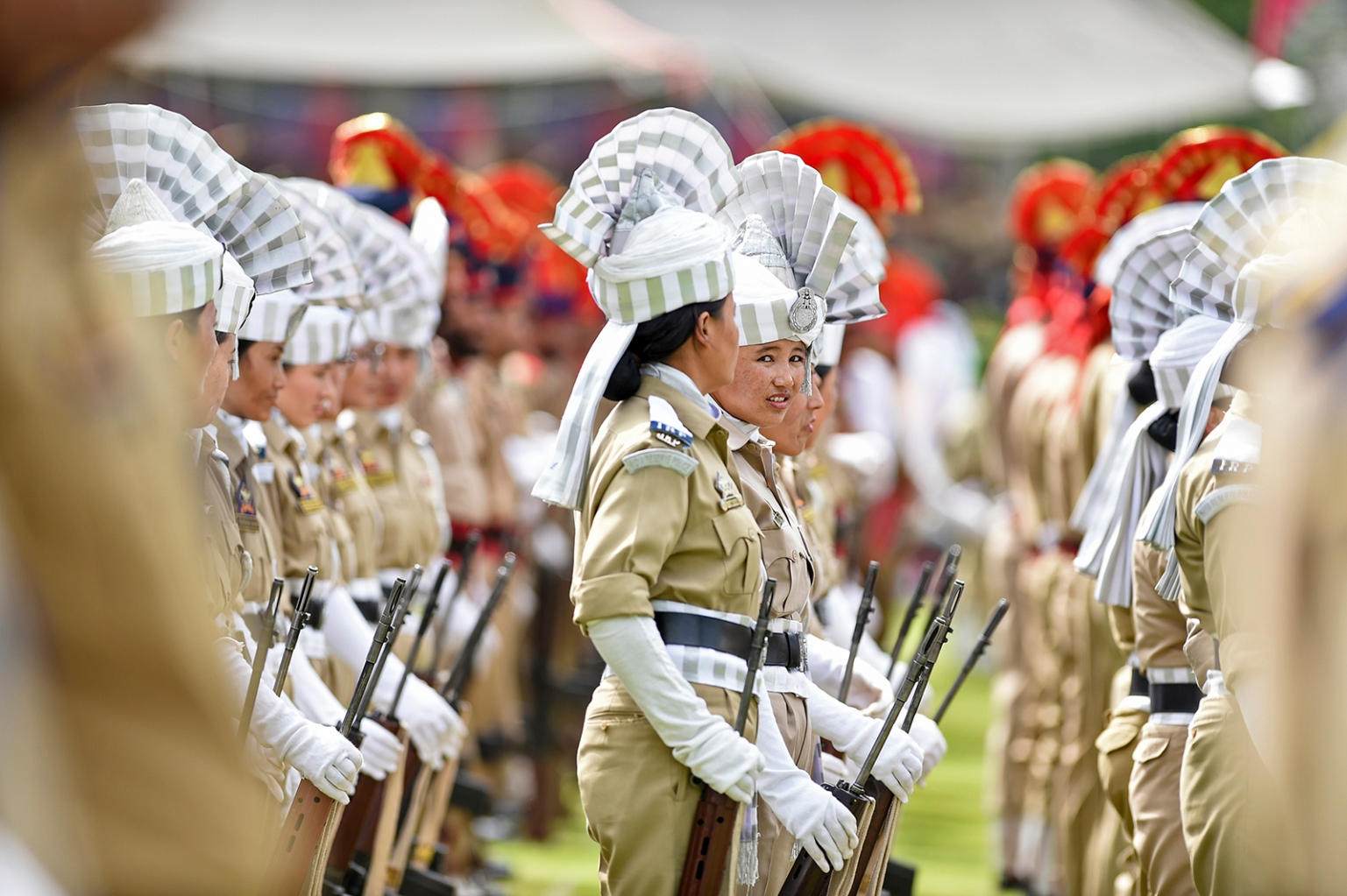 Jammu and Kashmir police personnel stand in formation during a ceremony to celebrate India's 73rd Independence Day, which marks the end of British colonial rule, in Srinagar on Aug. 15. TAUSEEF MUSTAFA/AFP/Getty Images