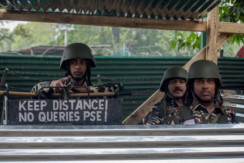 ndian paramilitary troopers stand on alert during India's Independence Day in Srinagar, Jammu and Kashmir, on Aug. 15.