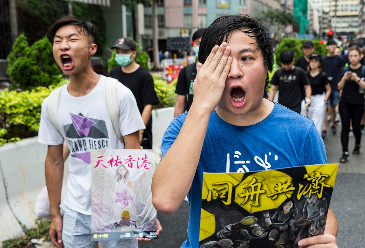 Anti-government protesters attend a rally in the Hung Hom district of Hong Kong on Aug. 17. ISAAC LAWRENCE/AFP/Getty Images