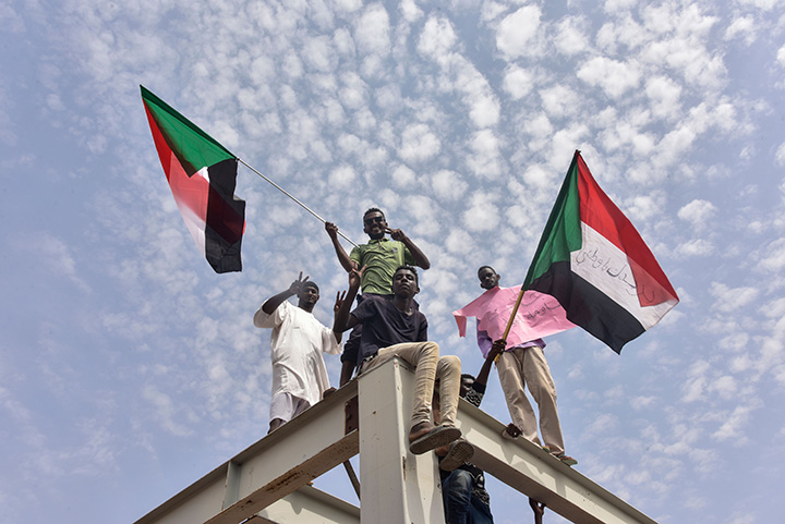 Sudanese protesters from the city of Atbara arrive at the Bahari station in Khartoum on August 17  to celebrate transition to civilian rule.