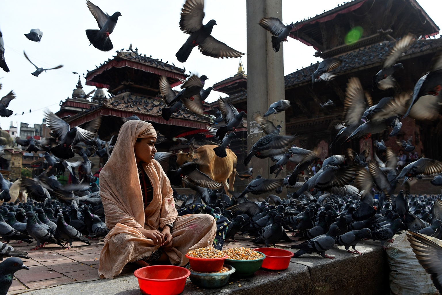 A girl waits for customers to sell grains to feed the pigeons at Basantapur Durbar Square in Kathmandu, Nepal, on Aug. 22. PRAKASH MATHEMA/AFP/Getty Images