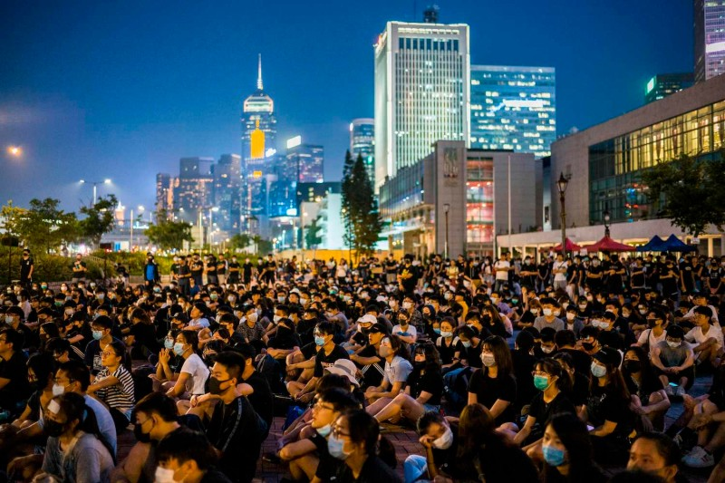 Secondary school students attend a rally at Edinburgh Place in Hong Kong on August 22, 2019.