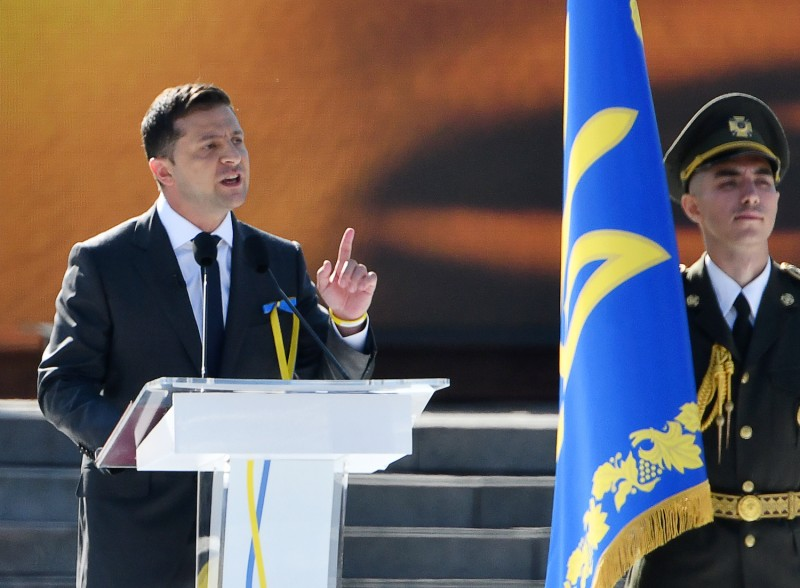 Ukrainian President Volodymyr Zelensky delivers a speech during celebrations to mark Ukraine's 28th Independence Day in Kyiv on Aug. 24.