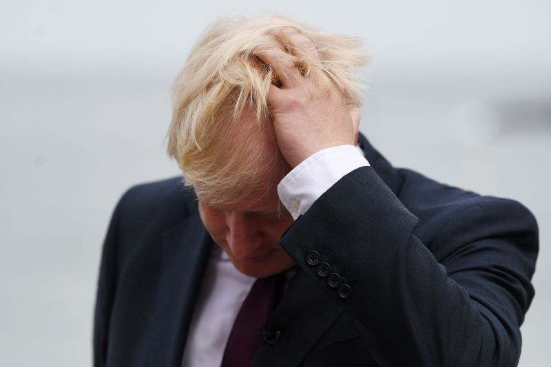 British Prime Minister Boris Johnson appears on television ahead of bilateral meetings at the G-7 summit in Biarritz, France, on Aug. 25.