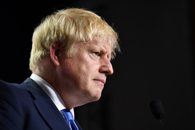 British Prime Minister Boris Johnson attends a press conference at the G-7 summit in Biarritz, France, on Aug. 24.