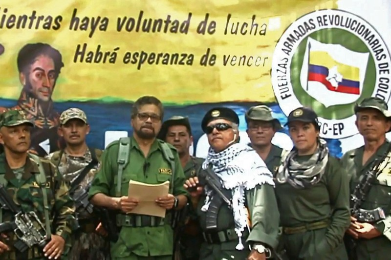 Former FARC commander Luciano Marín, who goes by Iván Márquez, appears in a video calling for a return to armed conflict in Colombia on Aug 29.