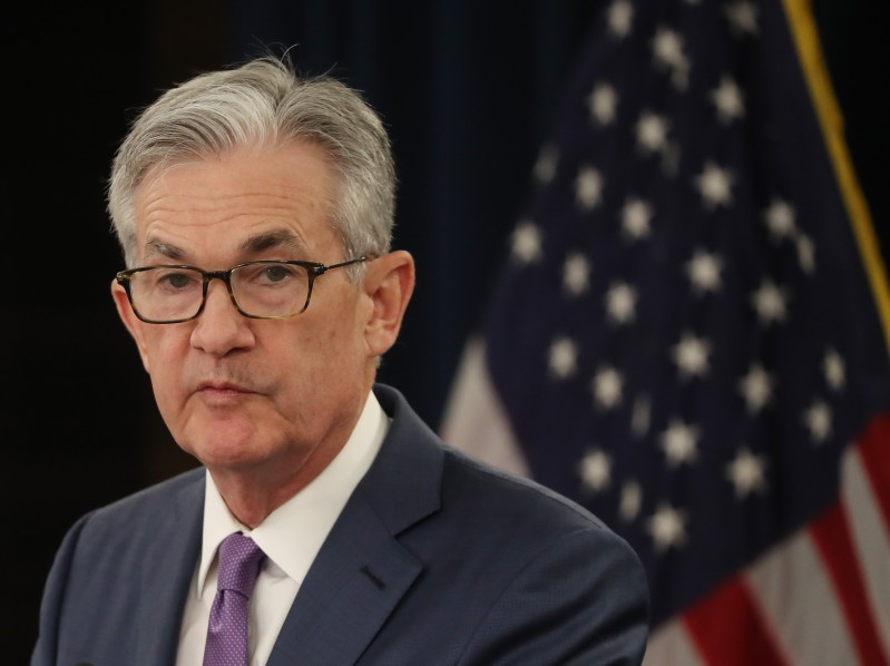 U.S. Federal Reserve Chairman Jerome Powell speaks during a news conference in Washington on July 31.
