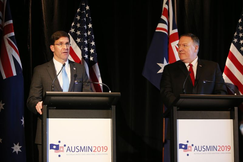 U.S. Defense Secretary Mark Esper and U.S. Secretary of State Mike Pompeo speak during a press conference at the Parliament of New South Wales in Sydney on Aug. 4.