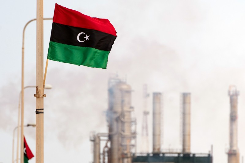 A Libyan flag is seen outside an oil refinery in Zawiya on Sept. 23, 2011.