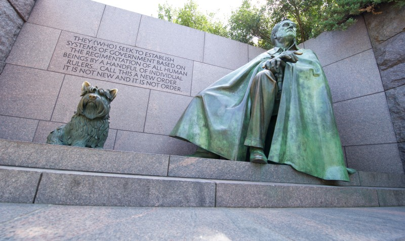 A statue of Franklin Delano Roosevelt and his dog Fala are seen at the FDR Memorial September 20, 2012 in Washington, DC.