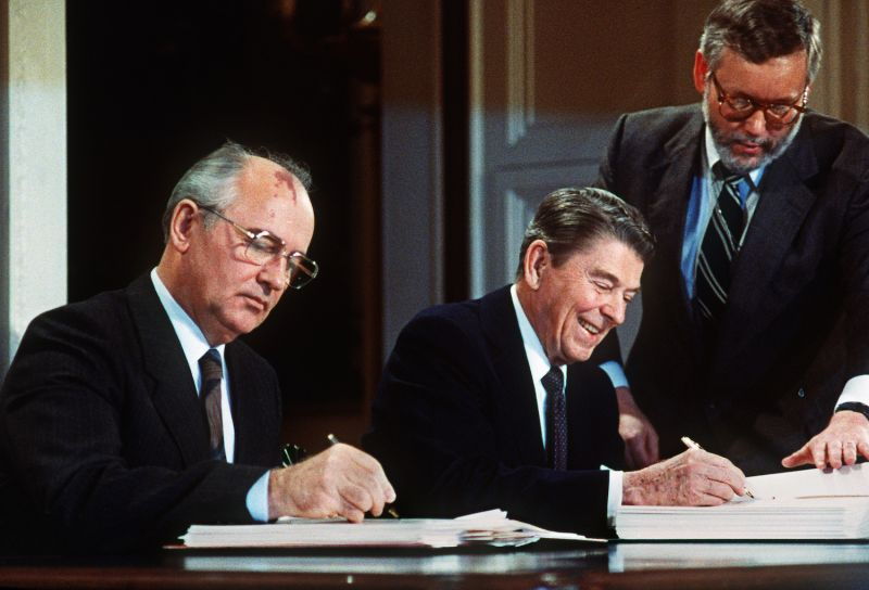 Soviet leader Mikhail Gorbachev and U.S. President Ronald Reagan sign a landmark treaty eliminating U.S. and Soviet intermediate-range and shorter-range nuke missiles in Washington in December 1987.