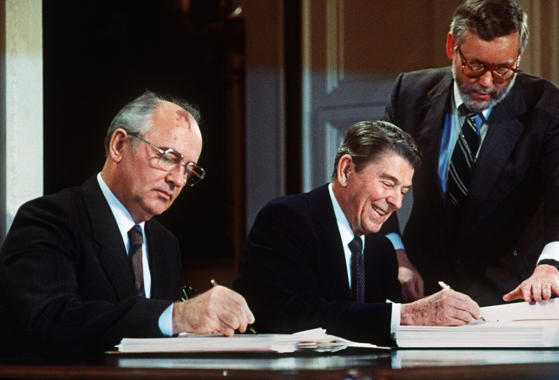 Soviet leader Mikhail Gorbachev and U.S. President Ronald Reagan sign a landmark treaty eliminating U.S. and Soviet intermediate-range and shorter-range nuke missiles in Washington in December 1987.