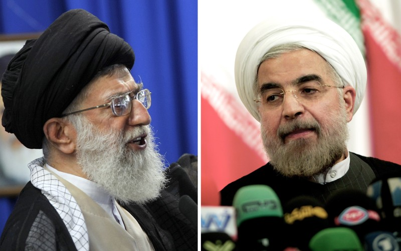 A combo of recent file pictures shows Iran's supreme leader Ayatollah Ali Khamenei addressing the faithful at the weekly Muslim Friday prayers at Tehran University on June 19, 2009 and newly elected president, Hassan Rouhani, attending a press conference in the Iranian capital on June 17, 2013.
