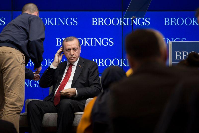 Turkish President Recep Tayyip Erdogan prepares to speak at the Brookings Institution, March 31, 2016 in Washington, DC.