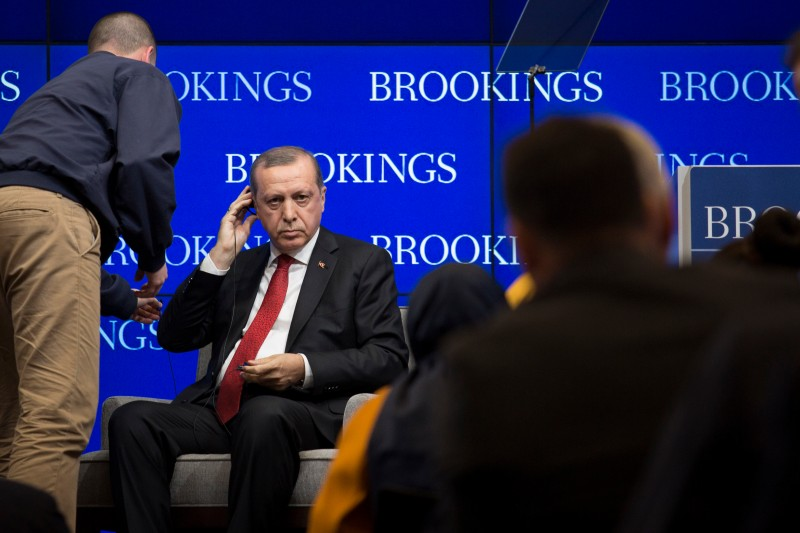 Turkish President Recep Tayyip Erdogan prepares to speak at the Brookings Institution, March 31, 2016 in Washington, DC.