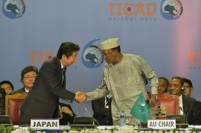 Japanese Prime Minister Shinzo Abe shakes hands with Chadian President Idriss Déby during the opening of the Tokyo International Conference on African Development in Nairobi on Aug. 27, 2016.