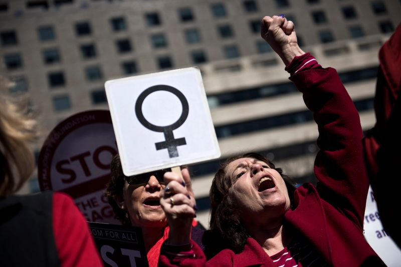 Activists rally for women's rights during a march to honor International Woman's Day in Washington, D.C., on March 8, 2017.