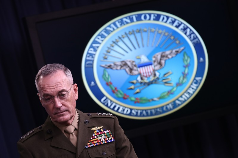 Chairman of the Joint Chiefs of Staff Marine Gen.Joseph Dunford answers questions during a Pentagon briefing in Arlington, Virginia, on May 19, 2017.