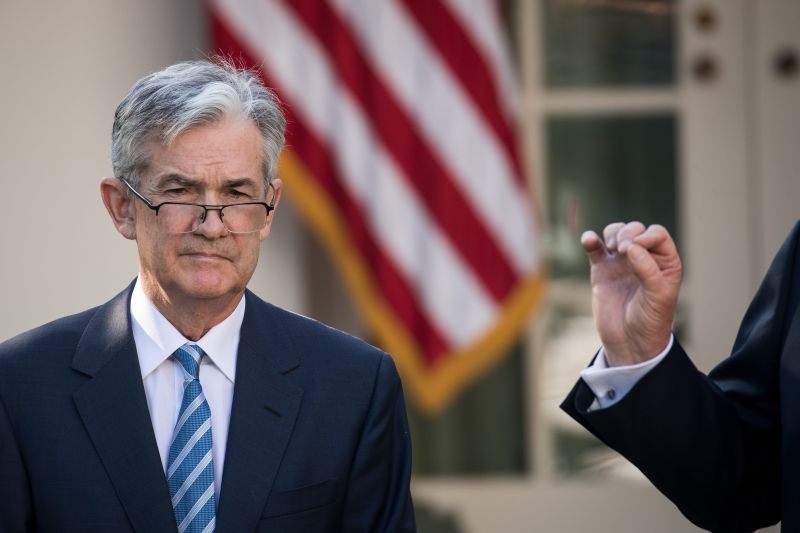 U.S. Federal Reserve Chairman Jerome Powell looks on as U.S. President Donald Trump speaks during a press event at the White House in Washington on Nov. 2, 2017.