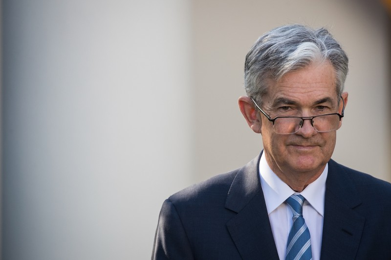 U.S. Federal Reserve Chairman nominee Jerome Powell looks on as President Donald Trump speaks during a press event in the Rose Garden at the White House on Nov. 2, 2017.