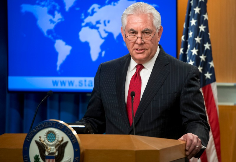 Former U.S. Secretary of State Rex Tillerson makes a statement after his dismissal at the State Department in Washington, D.C.,  on March 13, 2018.