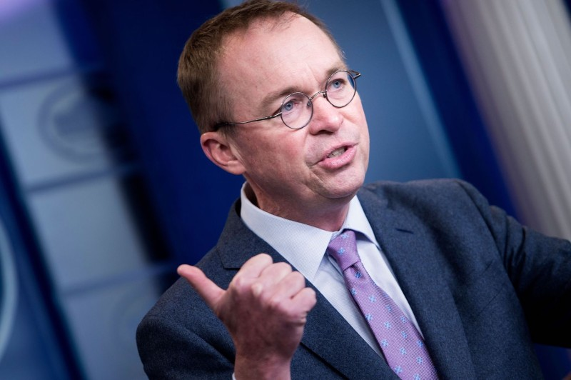 Mick Mulvaney, the director of the Office of Management and Budget,  speaks at the White House in Washington on March 22, 2018.
