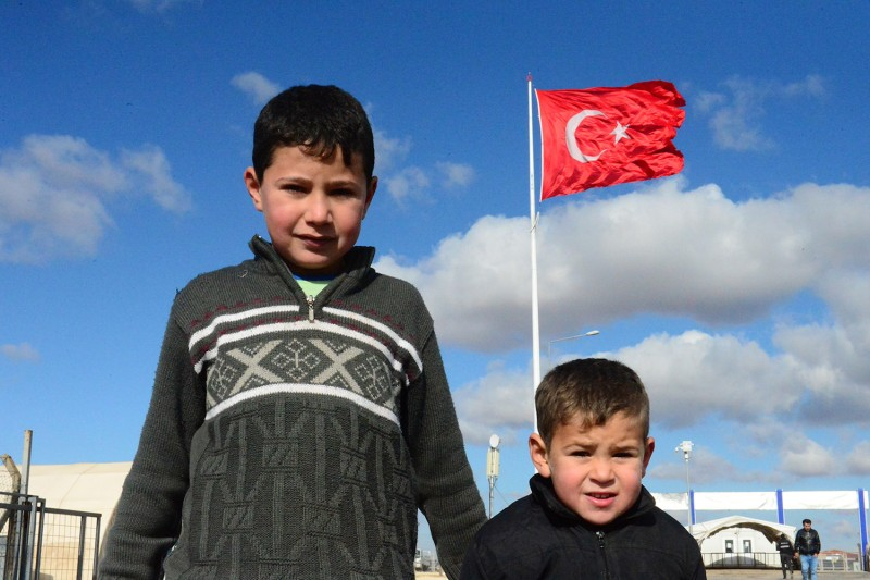 Syrian children at a tent camp in Sanliurfa, Turkey, on Jan. 9, 2018.