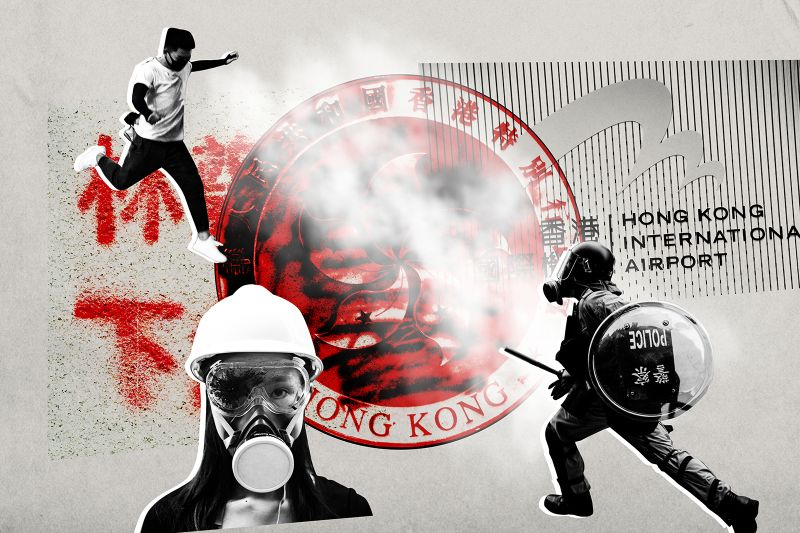 Foreign Policy illustration/Anthony Kwan/Vernon Yuen/Miguel Candela/NurPhoto/SOPA Images/LightRocket via Getty Images