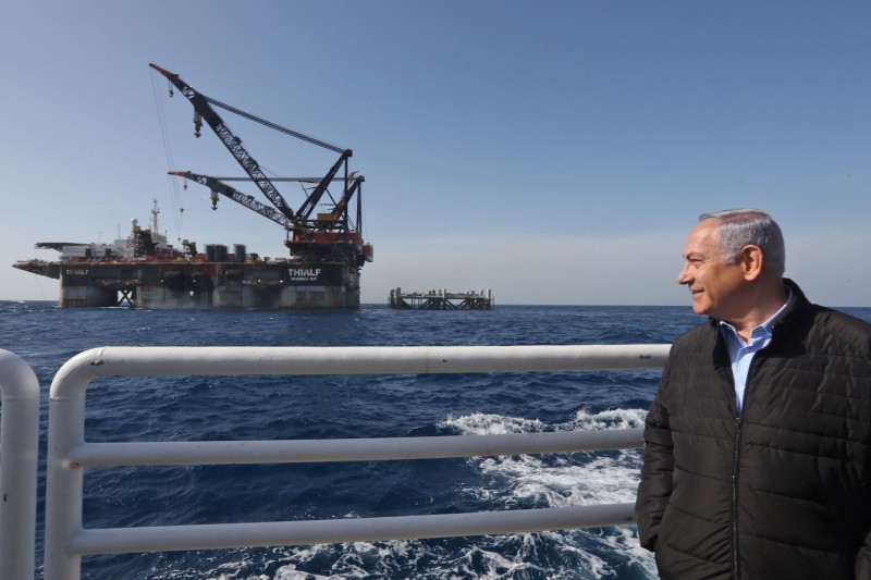 Israeli Prime Minister Benjamin Netanyahu at the inauguration of the newly-arrived foundation platform for the Leviathan natural gas field in the Mediterranean Sea on Jan. 31.
