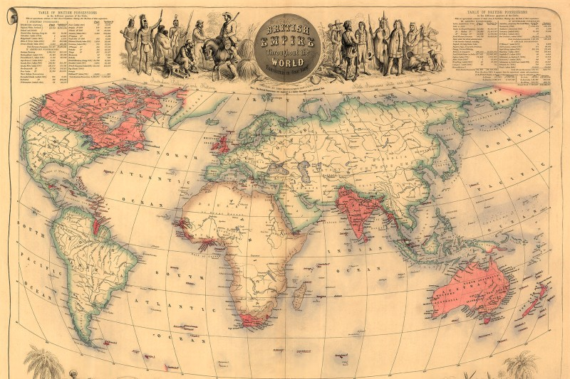 A map of the world circa 1870 with possessions of the British Empire colored in red.