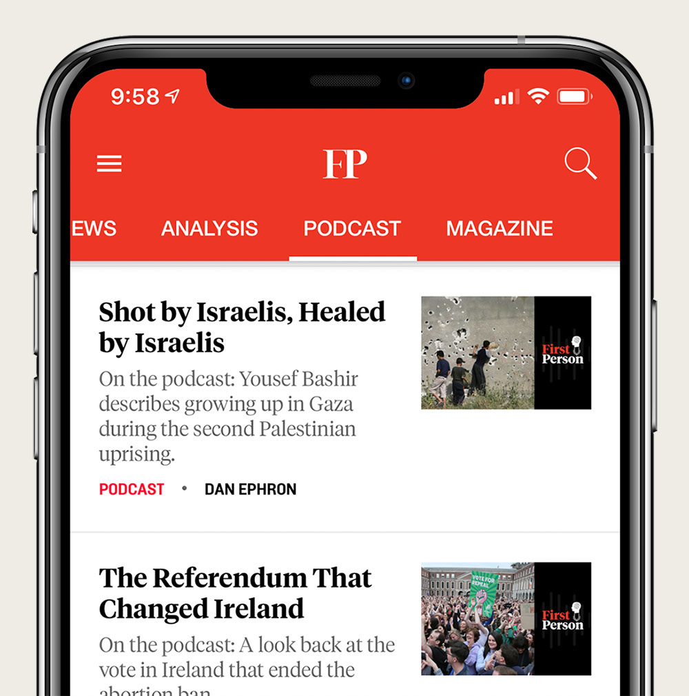 Foreign Policy app Podcast section screenshot