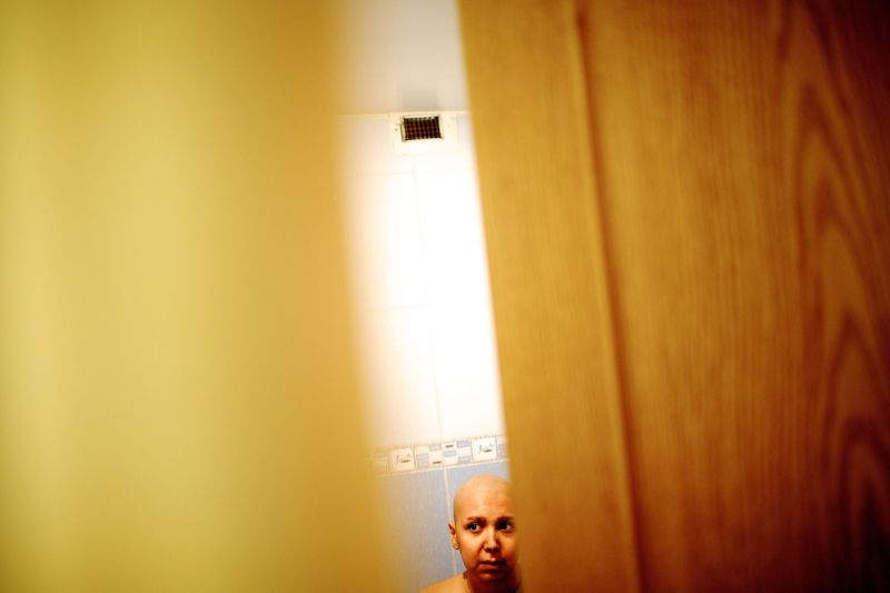 An Iranian cancer patient at her parents' house in Tehran on Oct. 18, 2013.