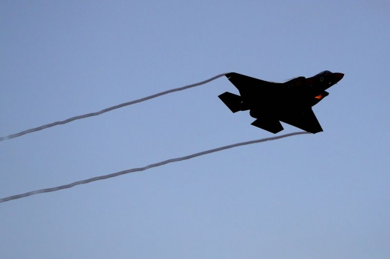 An Israeli F-35 fighter jet performs during an air show at the graduation ceremony of Israeli pilots at the Hatzerim Israeli Air Force base on June 27.