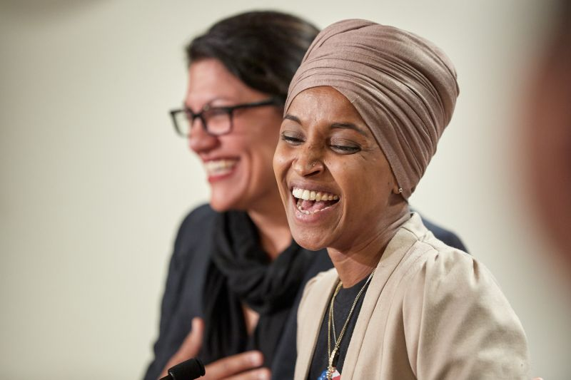 U.S. Reps. Ilhan Omar (D-MN) and Rashida Tlaib (D-MI) hold a news conference on August 19 in St. Paul, Minnesota after Israeli Prime Minister Benjamin Netanyahu blocked a planned trip by Omar and Tlaib to visit Israel and the West Bank.