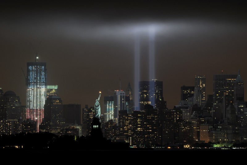 The annual Tribute in Light memorial echoing the twin towers of the World Trade Center illuminates the night sky during the tenth Anniversary of the 9/11 attacks on Sept. 11, 2011, in this view from Bayonne, New Jersey.