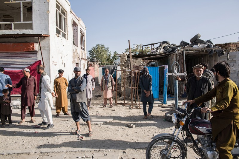 Blown-out windows and destroyed houses line Jalalabad Road in eastern Kabul on Sept. 11 after a Taliban attack Sept. 2 that killed at least 16 people and injured more than 100.