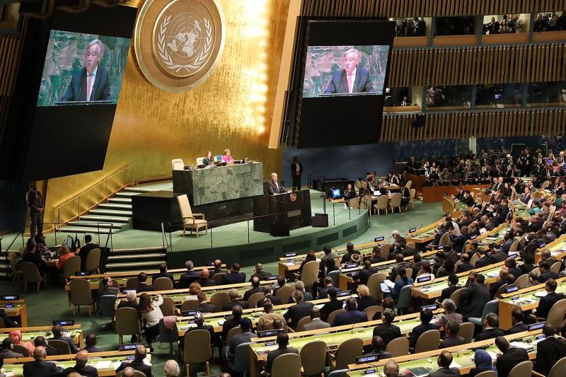 U.N. Secretary-General Antonio Guterres addresses the 73rd U.N. General Assembly on Sept. 25 in New York.