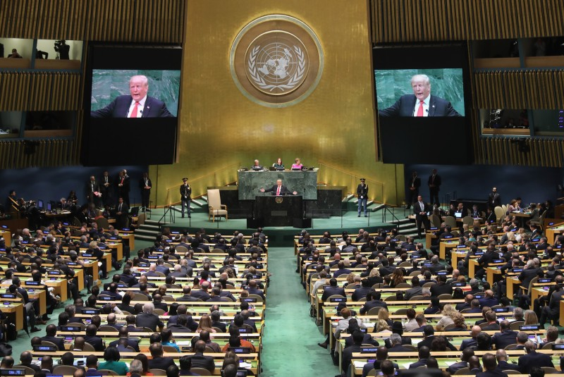 U.S. President Donald Trump speaks at the U.N. General Assembly in New York City on Sept. 25, 2018.