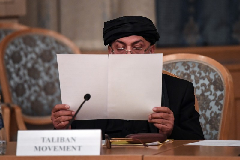 Representatives of the Taliban attend international talks on Afghanistan in Moscow on Nov. 9, 2018.