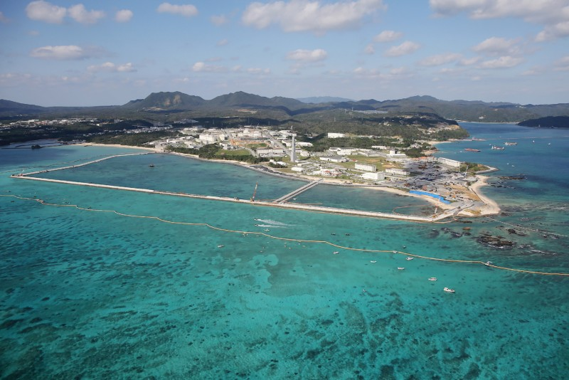 This aerial view shows land reclamation work on the Henoko coastal district of Nago, Okinawa prefecture, on December 14, 2018, to build a new site for relocating a US military airbase.