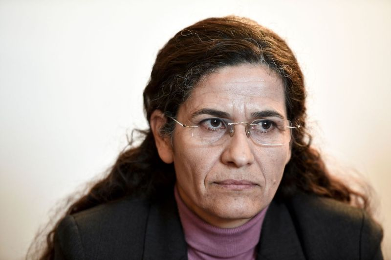 One of the two top political leaders of the Syrian Kurdish alliance and co-chair of the Syrian Democratic Council Ilham Ahmed attends a press conference, in Paris, on Dec. 21, 2018.   (Photo credit should read STEPHANE DE SAKUTIN/AFP/Getty Images)