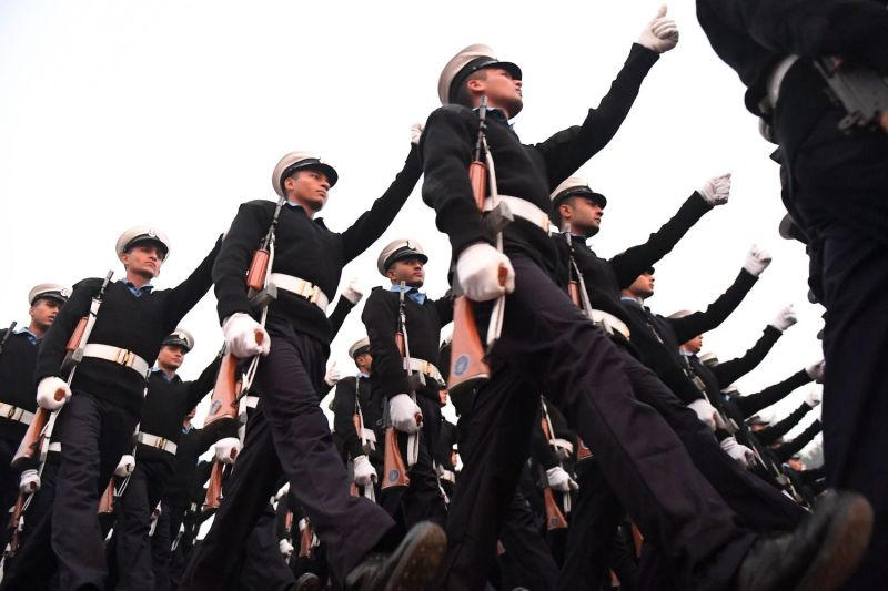 Indian Navy personnel march during the rehearsal for the Republic Day parade in New Delhi on Jan. 2.
