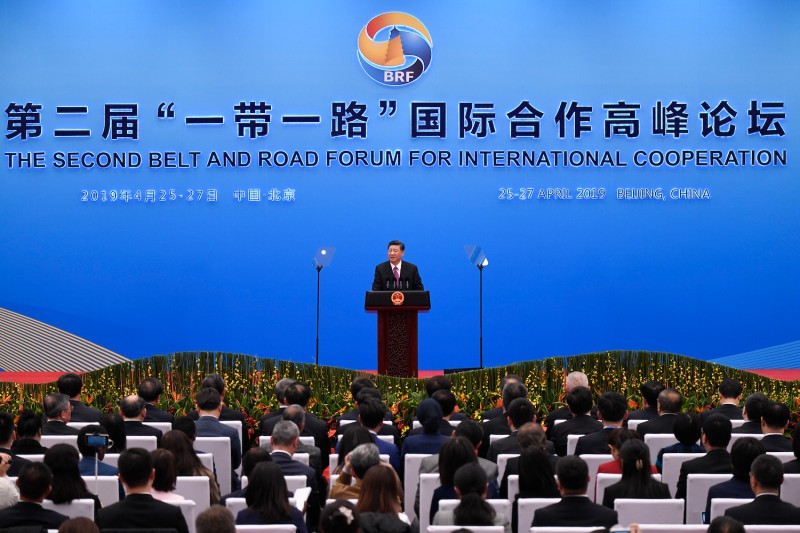 Chinese President Xi Jinping gives a speech at a press conference after the Belt and Road Forum in Beijing on April 27.