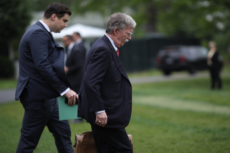 Then-U.S. National Security Advisor John Bolton departs the White House on April 26.