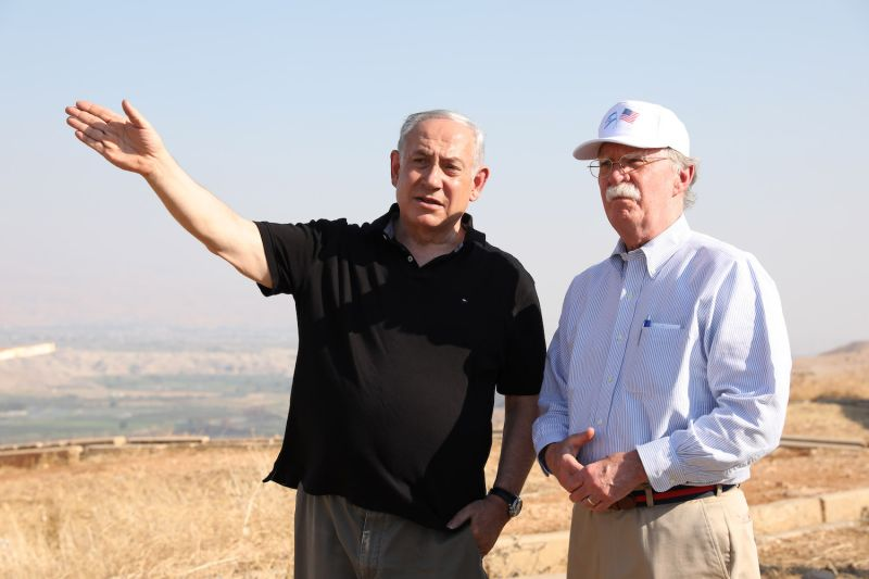 Israeli Prime Minister Benjamin Netanyahu and U.S. National Security Advisor John Bolton in the Jordan Valley between the Israeli city of Beit Shean and the West Bank city of Jericho on June 23.