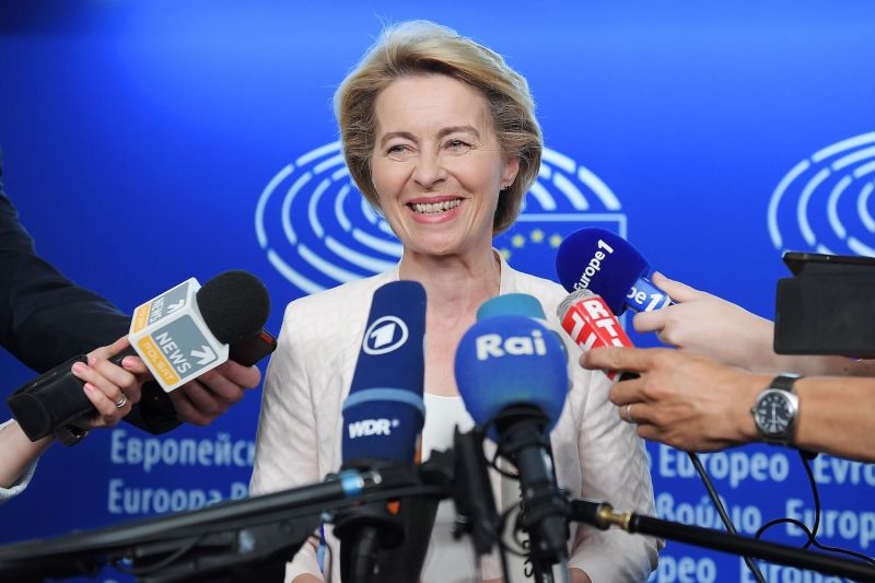 Ursula von der Leyen speaks to journalists during the first plenary session of the newly elected European Parliament in Strasbourg, France, on July 3.
