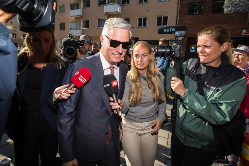 Robert O'Brien, the special envoy sent by U.S. President Donald Trump, arrives at the courthouse during the third day of the A$AP Rocky assault trial at the Stockholm city courthouse on Aug. 2.